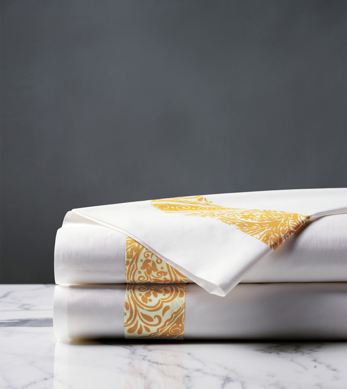 Adelle Percale Flat Sheet in Saffron - 100% COTTON,EGYPTIAN COTTON,ITALIAN,FINE LINENS,LINENS,SHEETS,SHEETING,FLAT SHEET,DAMASK,DAMASK PATTERN,GREEN,TRADITIONAL,OGEE,BED LINENS,EASTERN ACCENTS,PERCALE,MADE IN AMERICA,
