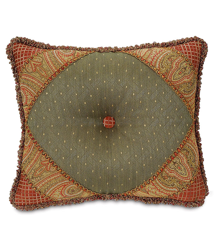 QUENTIN OLIVE DIAMOND TUFTED - DEEP TUFTED PILLOW,BUTTON TUFTED PILLOW,GREEN AND GOLD,RED AND GOLD,OLIVE GREEN,TRADITIONAL STYLE PILLOW,CLASSIC VICTORIAN PILLOW,PAISLEY PILLOW,COLLAGE,CUTOUT,DIAMOND DESIGN