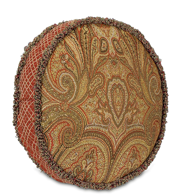 GLENWOOD TAMBOURINE - gold paisley pillow,victorian paisley pillow,pillow with fringe edge,red and gold,burgundy,ornamented pillow,victorian home,traditional style,tambourine pillow,cicular pillow