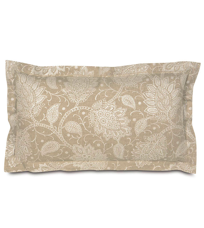 AILEEN KING SHAM - TAN PAISLEY KING SHAM,TAN PAISLEY PILLOWCASE,DECORATIVE PILLOWCASE,NEUTRAL,TRANSITIONAL,TAN AND WHITE PAISLEY,HEMSTICH BORDER,TAN,WHITE,CREAM,IVORY,FLORAL,TAN FLORAL PRINT PILLOW