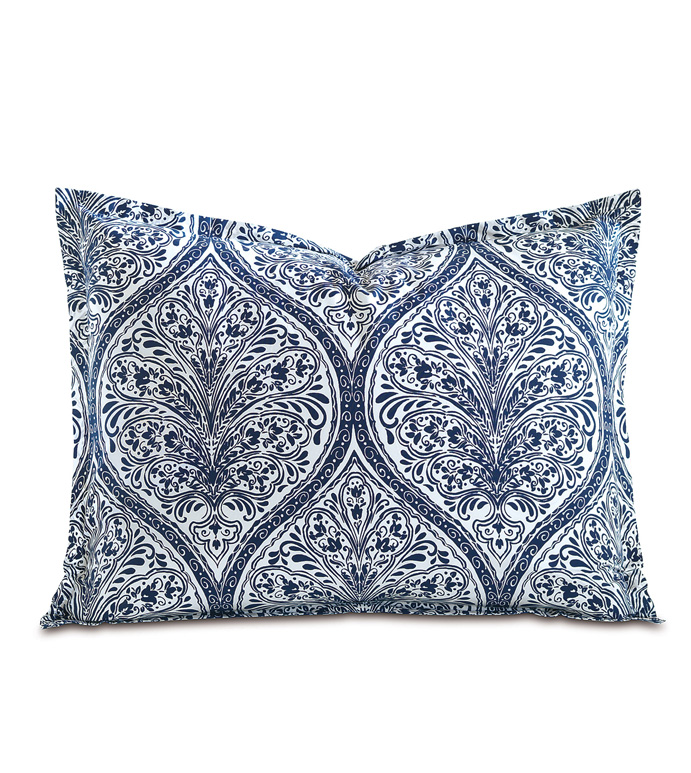 Adelle Percale King Sham in Marine - KING SHAM,PILLOW,DECORATIVE PILLOW,BLUE,BRIGHT,COLORFUL,OGEE,MEDALLION,DAMASK,JACQUARD,EASTERN ACCENTS,PATTERNED,PRINT,LUXURY BEDDING,FINE LINENS,PERCALE,ITALIAN FINE LINENS,