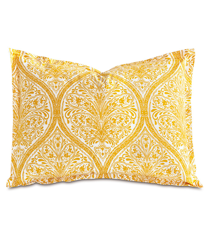 Adelle Percale King SHam in Saffron - KING SHAM,PILLOW,DECORATIVE PILLOW,YELLOW,BRIGHT,COLORFUL,OGEE,MEDALLION,DAMASK,JACQUARD,EASTERN ACCENTS,PATTERNED,PRINT,LUXURY BEDDING,FINE LINENS,PERCALE,ITALIAN FINE LINENS,