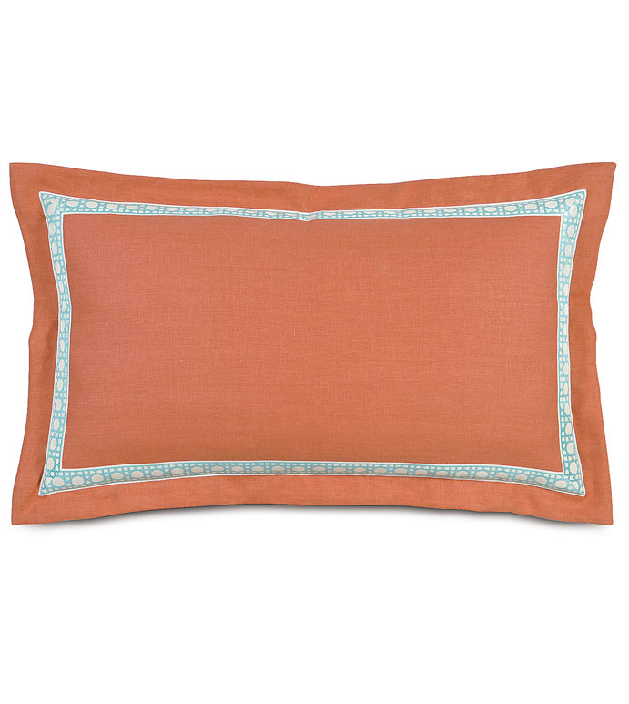 BREEZE TANGERINE KING SHAM - orange linen king sham,solid linen king sham,orange and blue,orange tropical pillow,bright tropical,contemporary,resort pillow,casual tropical,bright tropical,inset border,mitered