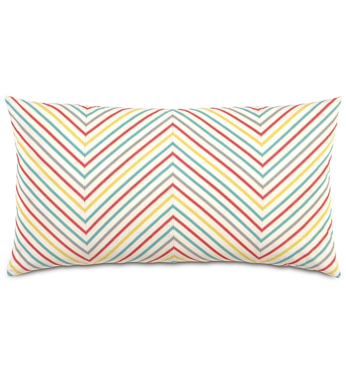 AFTON SHERBERT KING SHAM - candy stripe pillow,rainbow pillow,chevron pillow,rainbow,colorful,girls room pillow sham,striped,kids pillow,colorful king sham,chevron king sham,white,red,yellow,blue,gray
