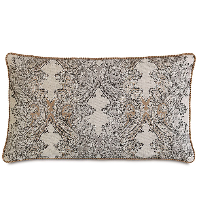 Aiden Oat King Sham - rustic,lodge,country,mountains,southwest,lodge style pillow,rustic pillow,king sham,leather accent,paisley,tan,black,grey,tan lodge pillow,saddle color pillow,tan paisley pillow
