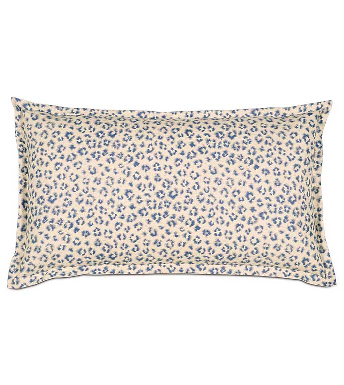 Tabby Sapphire King Sham - BLUE CHEETAH PRINT PILLOW,BLUE AND WHITE,WHITE AND BLUE,ANIMAL PRINT PILLOW,ANIMAL PRINT SHAM,LEOPARD PRINT SHAM,BLUE LEOPARD PRINT,NATURAL,FUNKY,ECLECTIC,BLUE AND WHITE CHEETAH