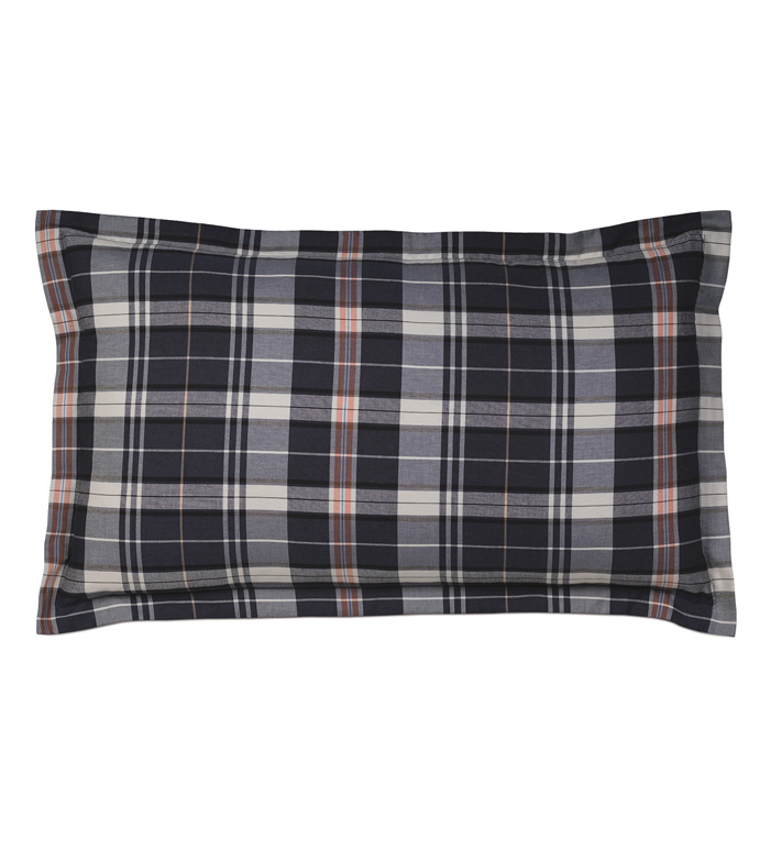 SCOUT NAVY KING SHAM - PILLOW,DECORATIVE PILLOW,PLAID PILLOW,NAVY PILLOW COVER,MASCULINE PILLOW,CHECK PILLOW,WASHABLE PILLOW COVER,KING SHAM,MALE PILLOW,JUVENILE PILLOW,KING SHAM PILLOW,BLUE PILLOW