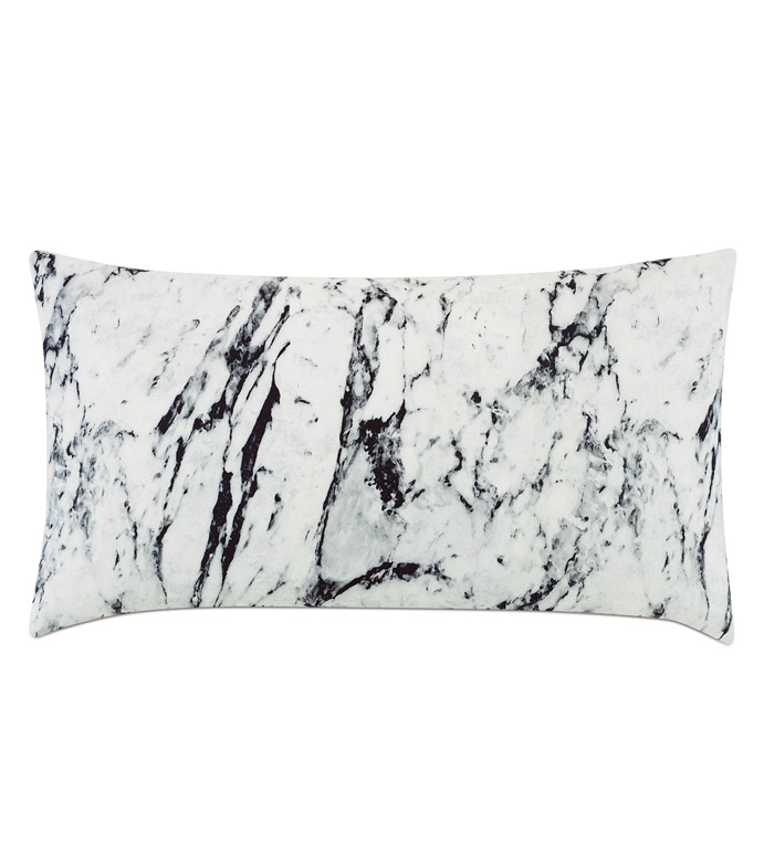 Banks Marble King Sham - ACCENT PILLOW,THROW PILLOW,KING SHAM,MONOCHROME,CONTEMPORARY,100% COTTON,MARBLE,KNIFE EDGE,BLACK AND WHITE,MODERN,MARBLE PILLOW,LUXURY BEDDING,LUXURY MARBLE PILLOW,