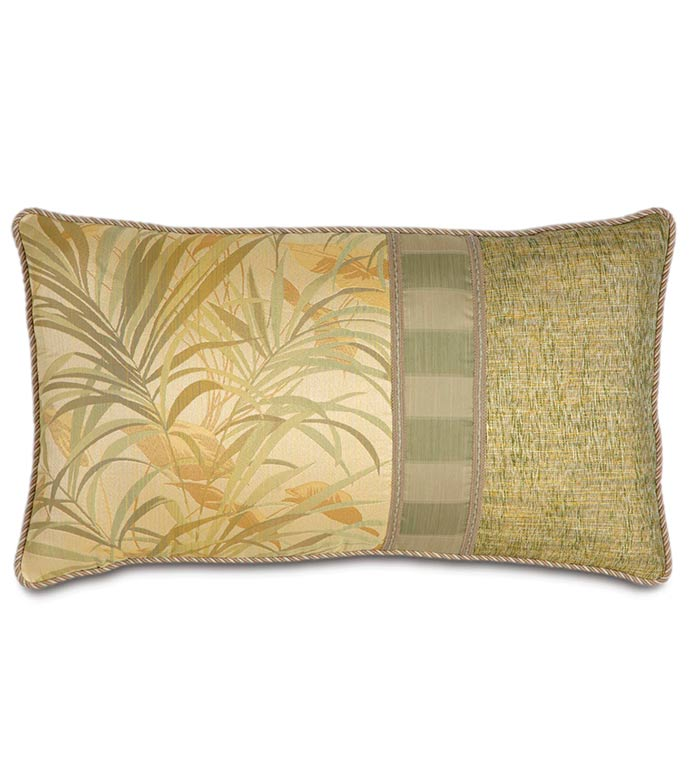 ANTIGUA KING SHAM RIGHT - tropical leaf,bamboo,tropical grass,contrast fabric,island house,tropical pillow,cabana pillow,king sham,green,tan,gold,yellow,lake house,cord edge,woven,striped,trim,coastal