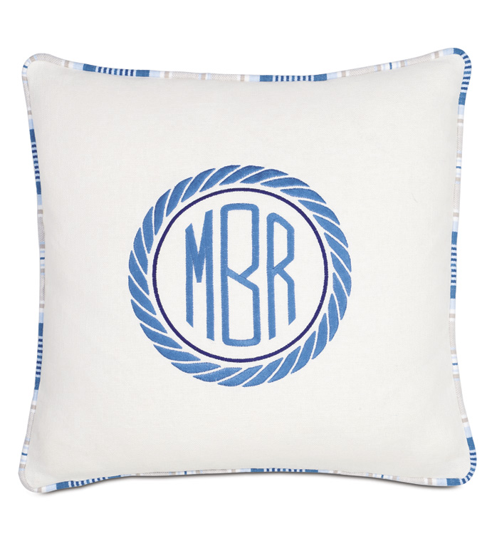 Maritime Embroidered Monogram Accent Pillow in Ivory - ACCENT PILLOW,THROW PILLOW,ACCENT PILLOW,EASTERN ACCENTS,IVORY,EMBROIDERED,SOLID,MONOGRAMMED,
