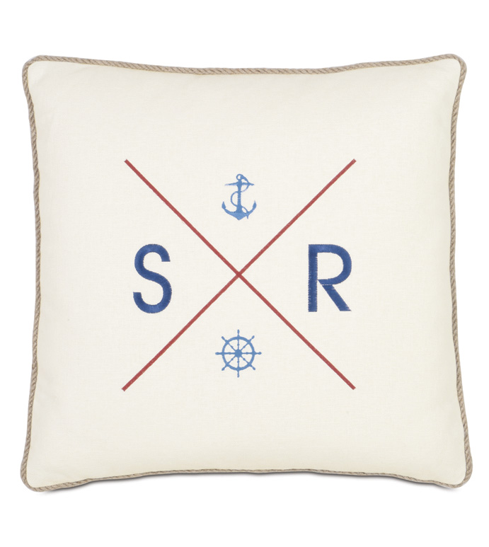 Maritime Embroidered Flag Accent Pillow In Ivory - ACCENT PILLOW,THROW PILLOW,ACCENT PILLOW,EASTERN ACCENTS,IVORY,LINEN,SOLID,MONOGRAMMED,