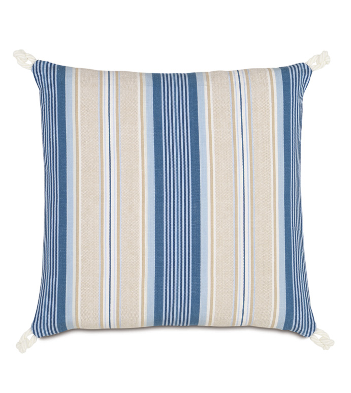 Maritime Stripe Accent Pillow in Blue - ACCENT PILLOW,THROW PILLOW,ACCENT PILLOW,EASTERN ACCENTS,BLUE,COTTON,STRIPE,KNIFE EDGE,