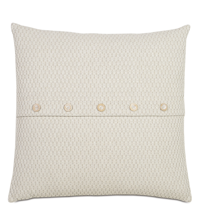 Maritime Coastal Accent Pillow in Cream - ACCENT PILLOW,THROW PILLOW,ACCENT PILLOW,EASTERN ACCENTS,CREAM,COTTON,TEXTURED,BUTTON,KNIFE EDGE,