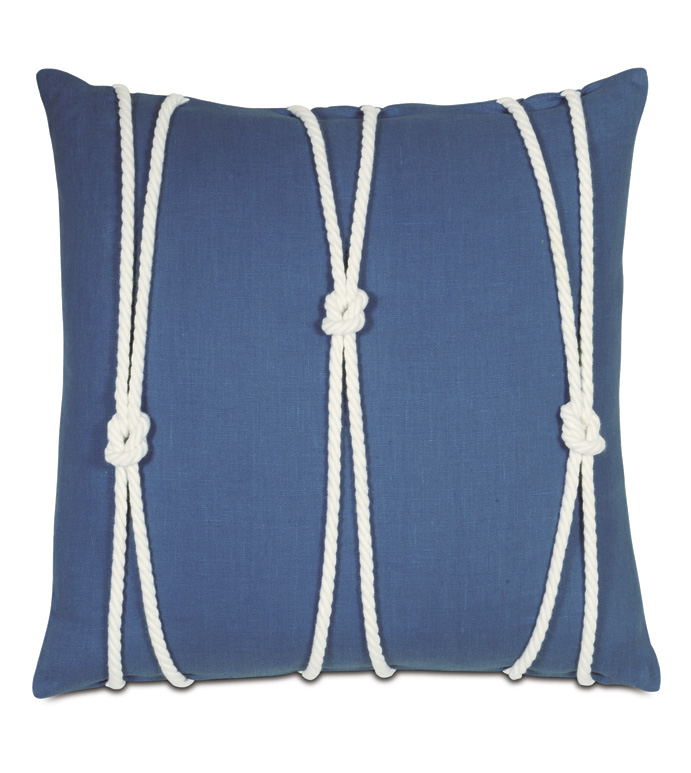 Maritime Knot Accent Pillow In Blue - ACCENT PILLOW,THROW PILLOW,ACCENT PILLOW,EASTERN ACCENTS,BLUE,100% LINEN,SOLID,KNIFE EDGE,