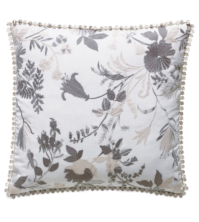 Naomi Floral Accent Pillow in Lilac - ACCENT PILLOW,THROW PILLOW,ACCENT PILLOW,EASTERN ACCENTS,LILAC,GLAM,EMBROIDERED,FLORAL,BEADED,
