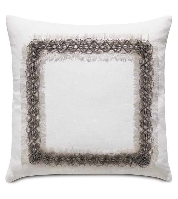 Naomi Border Accent Pillow in White - ACCENT PILLOW,THROW PILLOW,ACCENT PILLOW,EASTERN ACCENTS,WHITE,GLAM,100% LINEN,SOLID,BORDER,