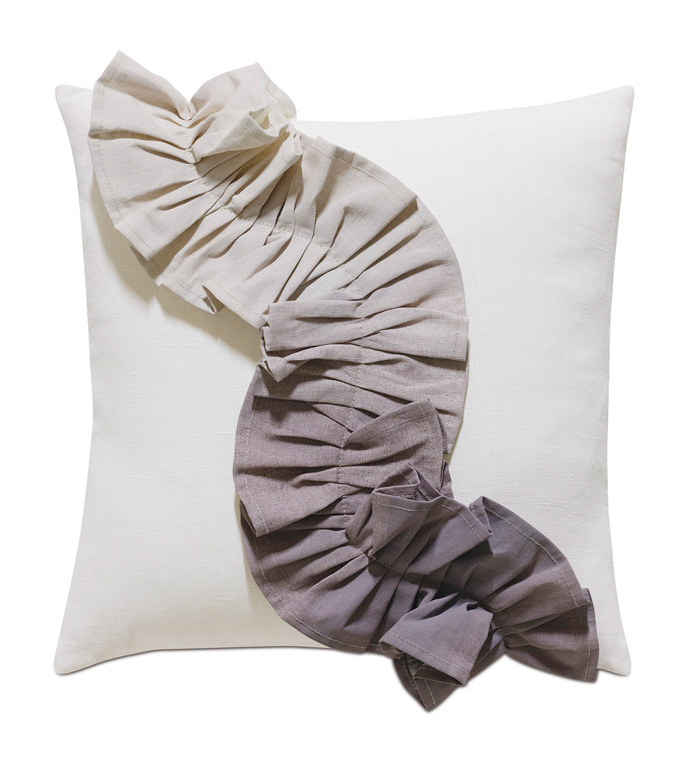 Naomi Pleated Accent Pillow in Purple - ACCENT PILLOW,THROW PILLOW,ACCENT PILLOW,EASTERN ACCENTS,PURPLE,GLAM,100% LINEN,OMBRE,HAND PAINTED,
