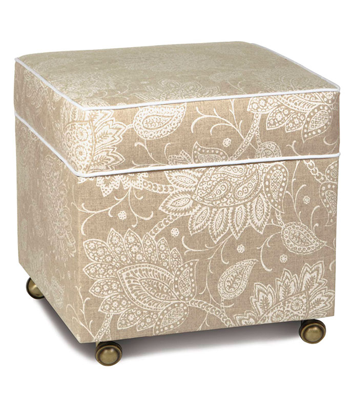 AILEEN STORAGE OTTOMAN - PAISLEY OTTOMAN,PAISLEY STORAGE OTTOMAN,TAN AND WHITE OTTOMAN,STORAGE CUBE,STORAGE FURNITURE,UPHOLSTERY,PAISLEY PRINT,TAN,WHITE,CREAM,NEUTRAL,CASTER WHEELS,TRANSITIONAL,IVORY