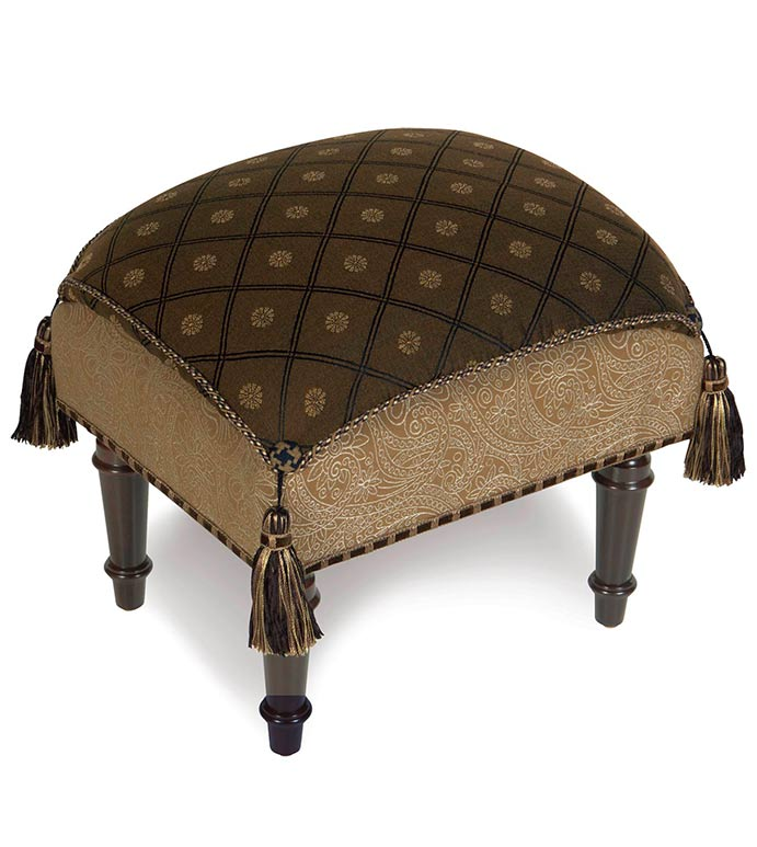 BIRKDALE CHOCOLATE PILLOW TOP STOOL - brown tuffet with tassels,tassel tuffet,brown and gold,black and gold,traditional pillow top stool,classic footstool,corner tassels,traditional home furniture,old world,rustic,tan