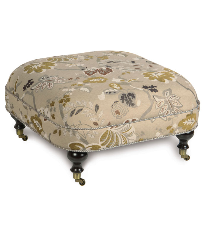 CALDWELL OTTOMAN ON CASTERS - LARGE FLORAL FOOTSTOOL,OVERSIZED FOOTSTOOL,UPHOLSTERED FOOT REST,LARGE TRADITIONAL FOOT STOOL,FLORAL UPHOLSTERED OTTOMAN,CASTER WHEELS,BOTANICAL,TRANSITIONAL,NEUTRAL,MUTED FLORAL