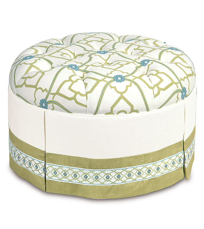 BRADSHAW ROUND OTTOMAN - green tufted ottoman,floral tufted ottoman,embroidered tufted ottoman,deep tufted,round tufted ottoman,green and white,white and blue,tween room furniture,bright floral ottoman