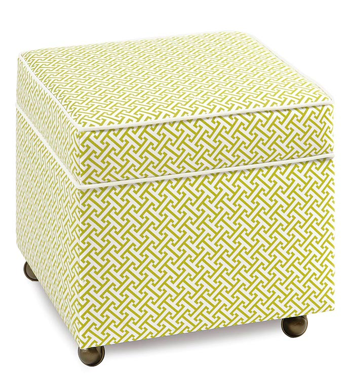 CHIVE SPARROW STORAGE BOXED OTTOMAN - lime green storage ottoman,kids upholstery,girls bedroom furniture,green and white,lattice print,kids storage ottoman,caster wheels,tween room furniture,chartreuse,girls furniture