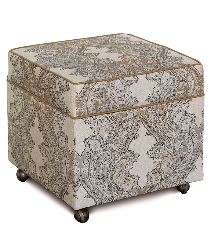 Aiden Oat Storage Ottoman - lodge style ottoman,paisley ottoman,country home ottoman,rustic ottoman,storage cube ottoman,storage ottoman,tan paisley ottoman,saddle leather,caster wheels,classic,accent ottoman