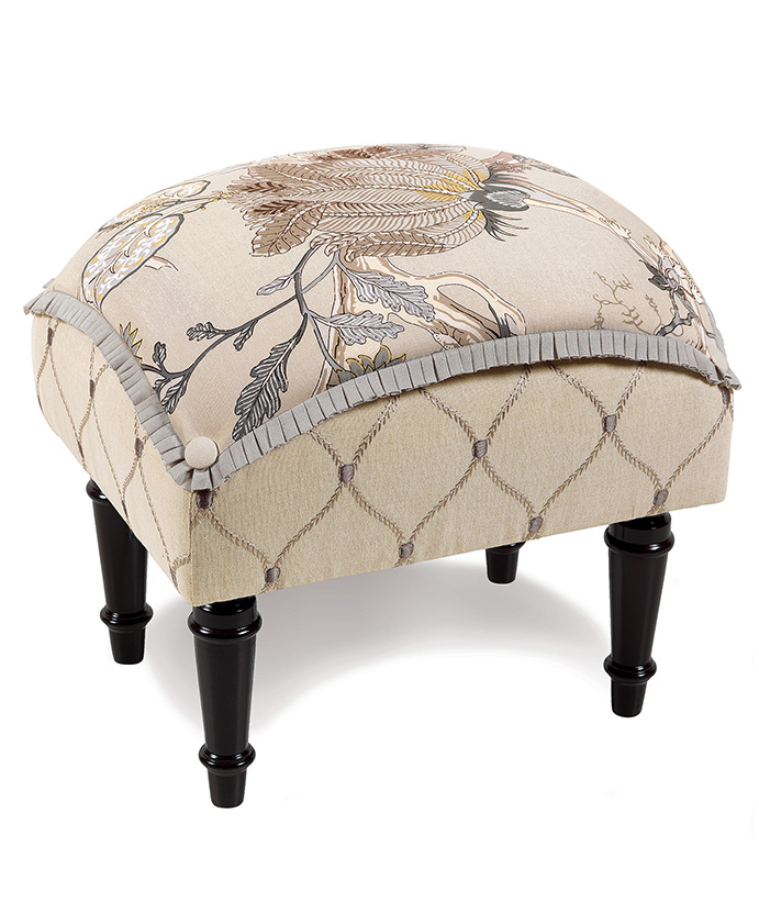 Edith Pillow Top Stool - FLORAL FOOTSTOOL,ENGLISH GARDEN FOOTSTOOL, UPHOLSTERED FOOTSTOOL,FLORAL TUFFET,TRADITIONAL TUFFET,ENGLISH GARDEN TUFFET,NEUTRAL FLORAL OTTOMAN,SMALL BEDROOM OTTOMAN,BOTANICAL