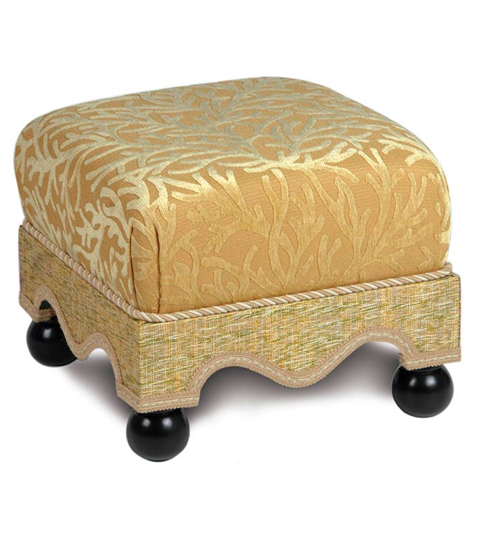 AUGUSTINE GOLD MEDIUM OTTOMAN - TROPICAL FURNITURE,TROPICAL OTTOMAN,FOOT STOOL,ACCENT OTTOMAN,UPHOLSTERY,UPHOLSTERED OTTOMAN,SMALL OTTOMAN,GOLD,GREEN,TAN,COASTAL,ISLAND,BEACH HOUSE,CORAL,FOOT REST,TUFFET