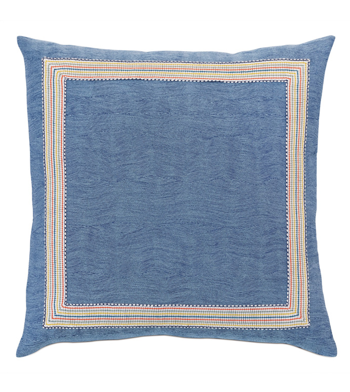 Paloma Woven Decorative Pillow - ACCENT PILLOW,THROW PILLOW,EASTERN ACCENTS,BLUE,TEXTURED,SOLID,BORDER,MITERED,SQUARE,22X22,PILLOW,LUXURY,BEDDING,WOVEN,WAVY,INDIGO,APPLIQUE,TEXTURE,WOVEN PATTERN,