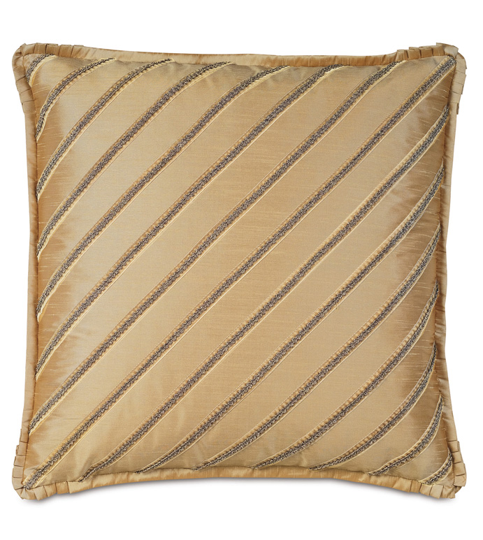EDRIS GOLD WITH DIAGONAL TRIMS - PILLOW,METALLIC PILLOW,TOSS CUSHION,THROW PILLOW,GOLD PILLOW,CONTEMPORARY PILLOW,CUSTOMIZABLE PILLOW,GIMP PILLOW,GLAM PILLOW,RIBBON PILLOW,HIGH END PILLOW,ACCENT PILLOW,