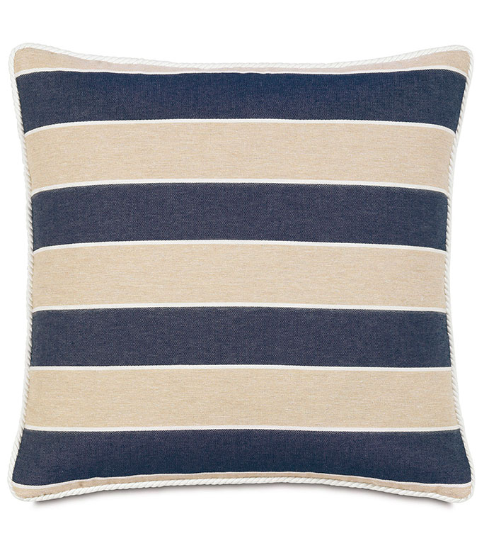 Abbot Indigo with Cord - pillow,stripe pillow,toss cushion,throw pillow,square pillow,masculine pillow,customizable pillow,double sided pillow,nautical pillow,accent pillow,preppy pillow,marine pillow