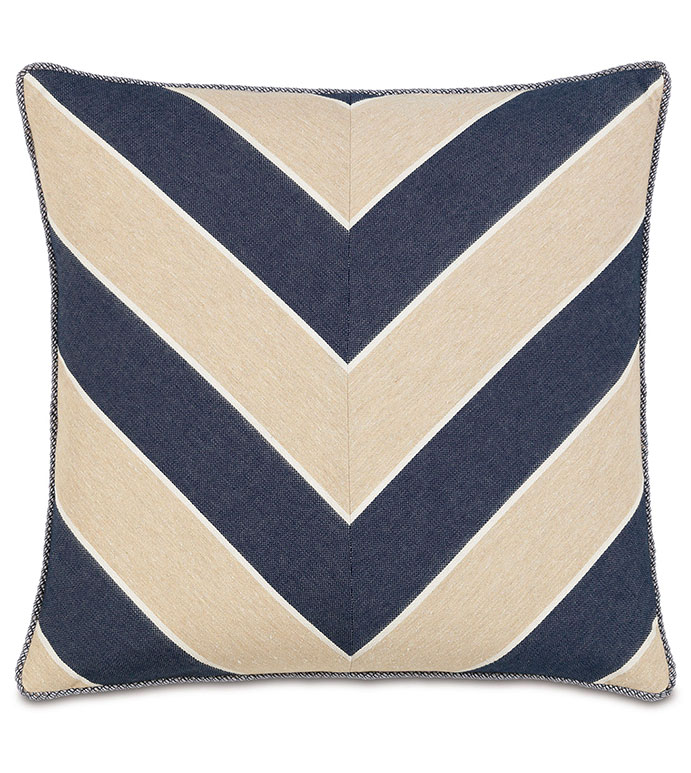 Abbot Indigo Chevron - PILLOW,NAUTICAL PILLOW,CHEVRON PILLOW,TOSS CUSHION,THROW PILLOW,SQUARE PILLOW,COASTAL PILLOW,CUSTOMIZABLE PILLOW,DOUBLE SIDED PILLOW,PREPPY PILLOW,HIGH END PILLOW,MARINE PILLOW