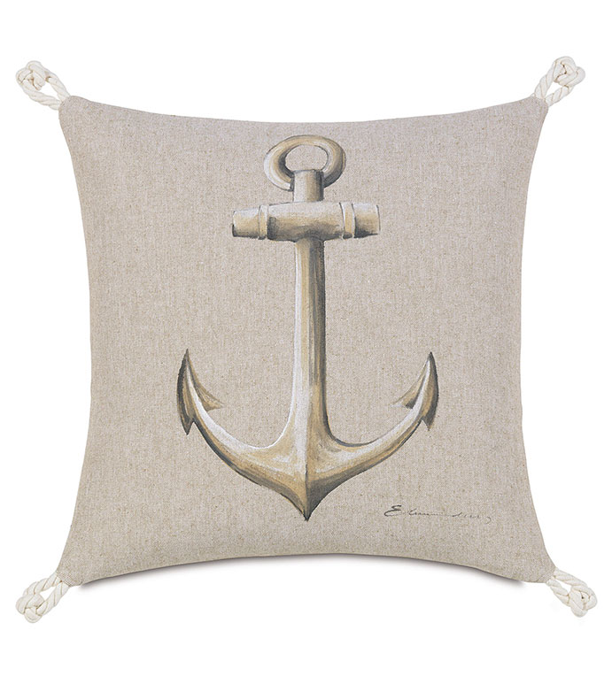 Hand-Painted Anchor - pillow,throw pillow,anchor pillow,coastal pillow,marine pillow,hand painted pillow,decorative pillow,accent pillow,custom pillow,nautical pillow,preppy pillow,knot pillow