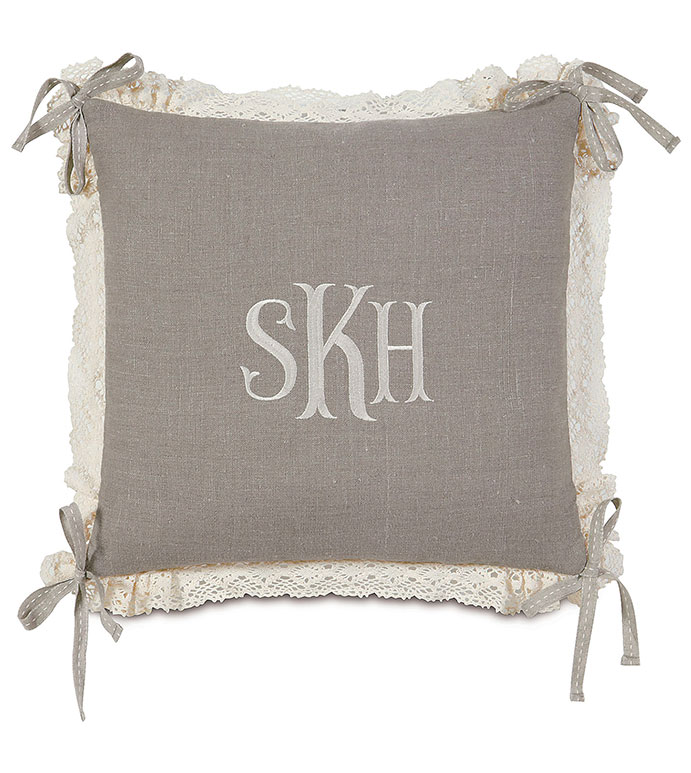Breeze Linen WITH monogram - PILLOW,LACE PILLOW,THROW PILLOW,TRADTIONAL PILLOW,DECORATIVE PILLOW,HIGH END PILLOW,LINEN PILLOW,CUSTOMIZABLE PILLOW, ACCENT PILLOW,TOSS CUSHION,FRILY PILLOW,RIBBON PILLOW