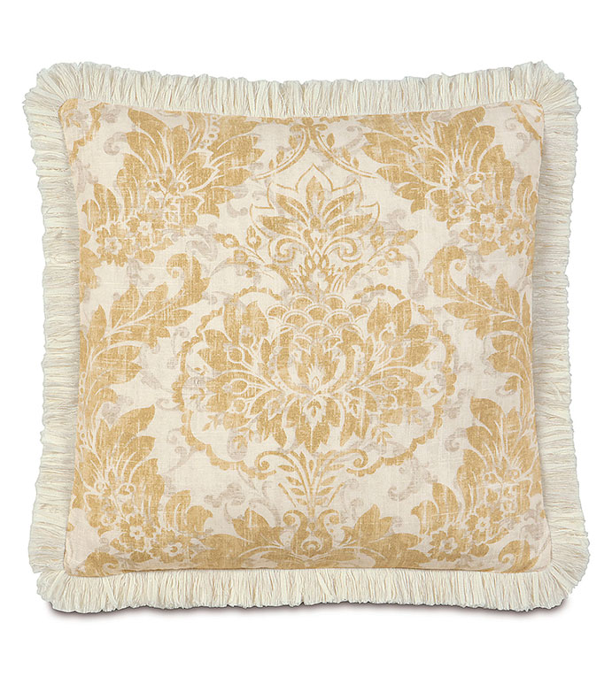 Sabelle With Brush Fringe - PILLOW,MEDALLION PILLOW,TOSS CUSHION,THROW PILLOW,SQUARE PILLOW,FEMINE PILLOW,CUSTOMIZABLE PILLOW,DOUBLE SIDED PILLOW,TRADTIONAL PILLOW,ACCENT PILLOW,CLASSIC PILLOW,GOLD PILLOW