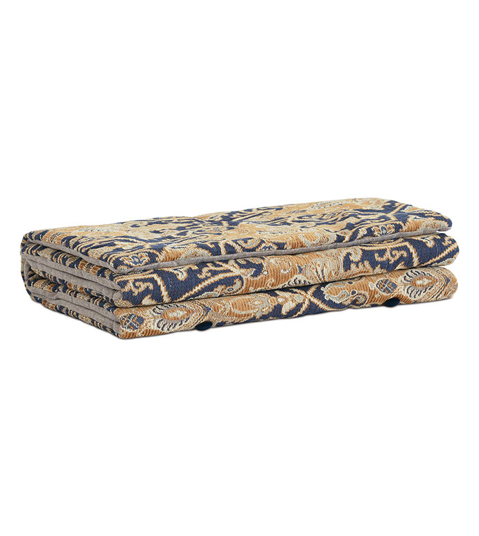 Arthur Ochre Bed Scarf - PAISLEY BED SCARF,GOLD PAISLEY BEDDING,PAISLEY DECORATIVE BEDDING,BUTTON TUFTED,TRADITIONAL,MASCULINE,CLASSIC,LARGE PAISLEY,WOVEN,MENS ROOM BEDDING,TRADITIONAL BEDDING,BLUE AND TAN