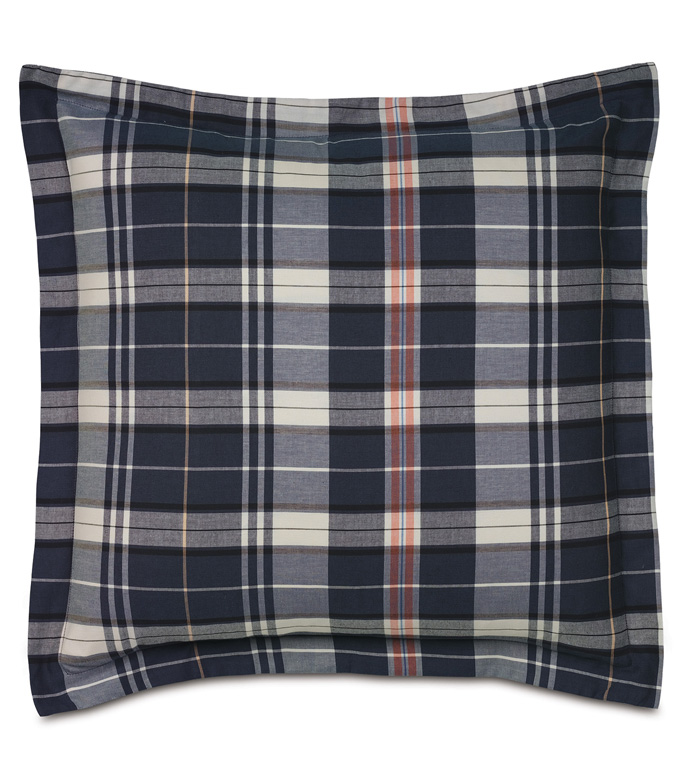 SCOUT NAVY WITH FLANGE - PILLOW, DECORATIVE PILLOW,PLAID PILLOW,NAVY PILLOW COVER,MASCULINE PILLOW,CHECK PILLOW,WASHABLE PILLOW COVER,MALE PILLOW,JUVENILE PILLOW,BLUE PILLOW,TOSS CUSHION,BLUE ACCENT PILLOW