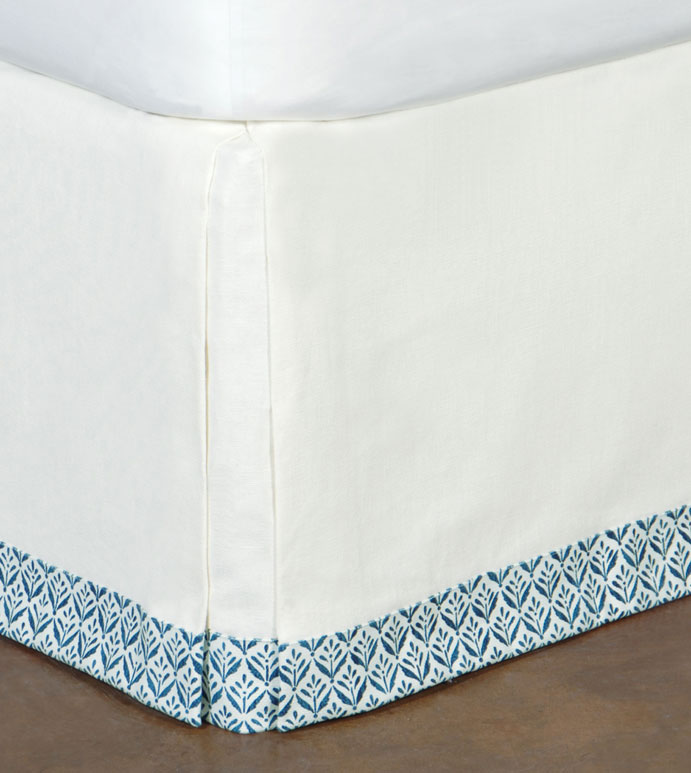 FILLY WHITE SKIRT - white and blue bed skirt,white bed skirt,white tropical bed skirt,blue trim,kick pleated,corner pleated bed skirt,casual,contemporary tropical,blue and white,neutral,coastal,beach