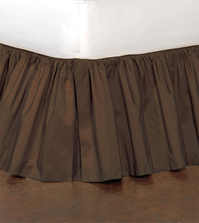 Freda Ruffled Bed Skirt in Chocolate - RUFFLED,BED SKIRT,BEDDING,HOME DECOR,BROWN,DARK,ACCESSORIES,MADE IN USA,TRADITIONAL,TAFFETA,SILKY,SHINY,QUEEN,KING,TWIN,DAYBED,FULL,CAL KING