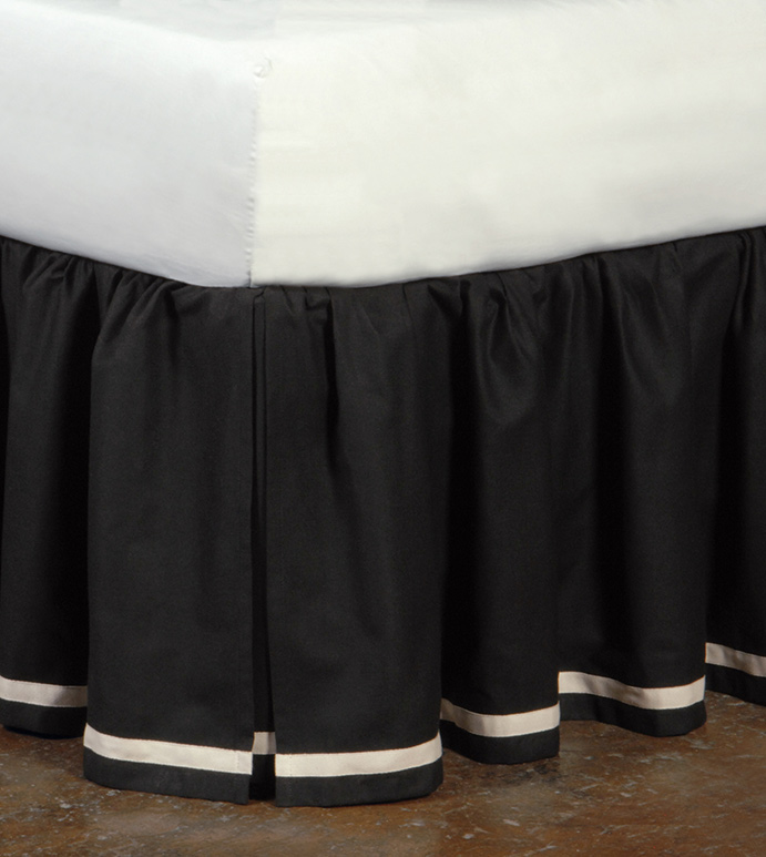 FULLERTON INK SKIRT - black and white bed skirt,black bed skirt,black and white dust ruffle,black pleated bed skirt,inverted pleat bed skirt,box pleat bed skirt,black and white striped,trim applique