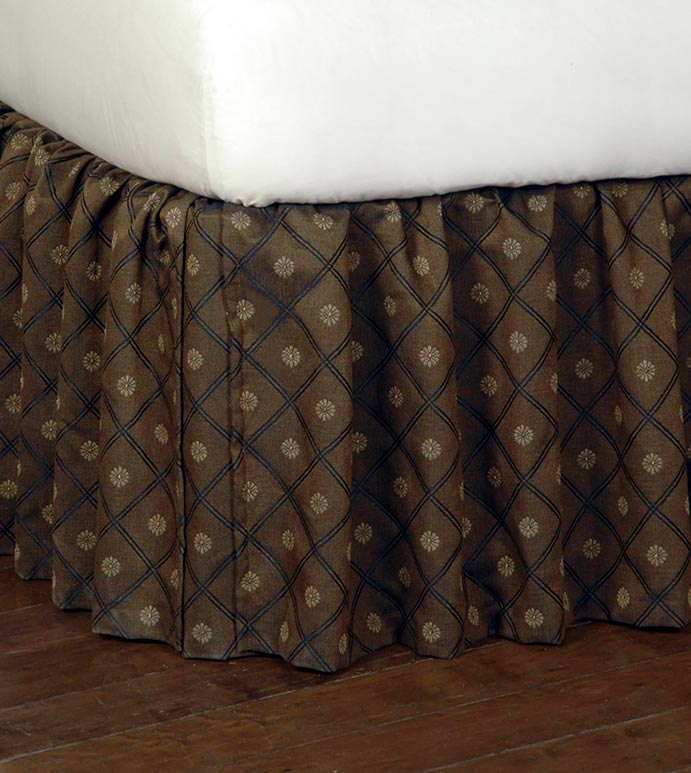 BIRKDALE CHOCOLATE SKIRT - brown gathered bed skirt,ruffled bed skirt,gathered dust ruffle,black and brown,black and gold,traditional bedskirt,brown classic dust ruffle,rustic,old world,ruched bed skirt