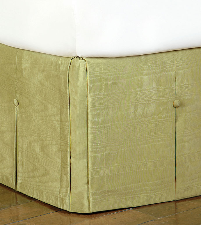 PEARL APPLE SKIRT - green pleated bed skirt,green silky bed skirt,corner pleat bed skirt,green bed skirt with buttons,green box pleat bed skirt,button pleated,chartreuse,green bedding,contemporary