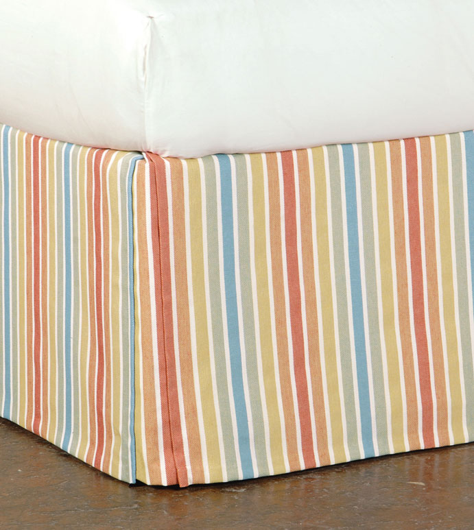 PARADISE SUNRISE BED SKIRT - bright striped bed skirt,kids striped bed skirt,colorful pleated bed skirt,corner pleat,kick pleat,verical striped bed skirt,tropical bed skirt,beach house bed skirt,candy stripe