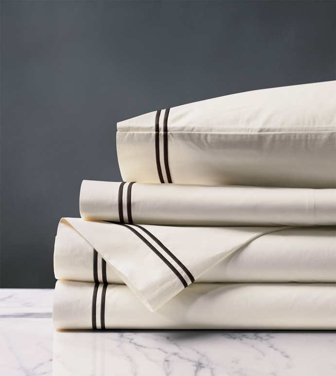 ENZO IVORY/BLACK SHEET SET