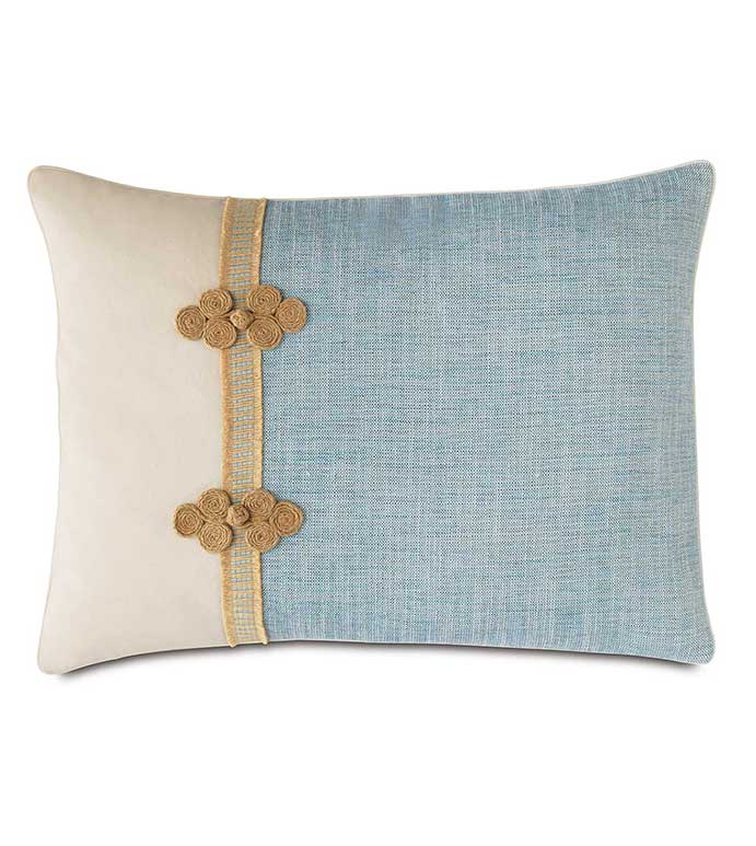 Draper Lake Standard Sham (Left) - ENVELOPE PILLOWCASE,CONTRAST FABRIC,BLUE AND WHITE,BLUE AND IVORY,MACRAME TRIM,HEMP BORDER,DECORATIVE PILLOW SHAM,LAKE HOUSE BEDDING,BEACH HOUSE PILLOW,COASTAL,CASUAL,