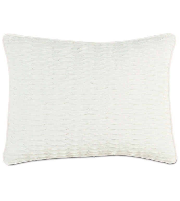 YEARLING PEARL STANDARD SHAM - ruched white pillow,white decorative standard sham,ivory decorative sham,white ruffled pillow,ruffled pillowcase,white linen pillow,solid linen,solid white,neutral,coastal,tropical