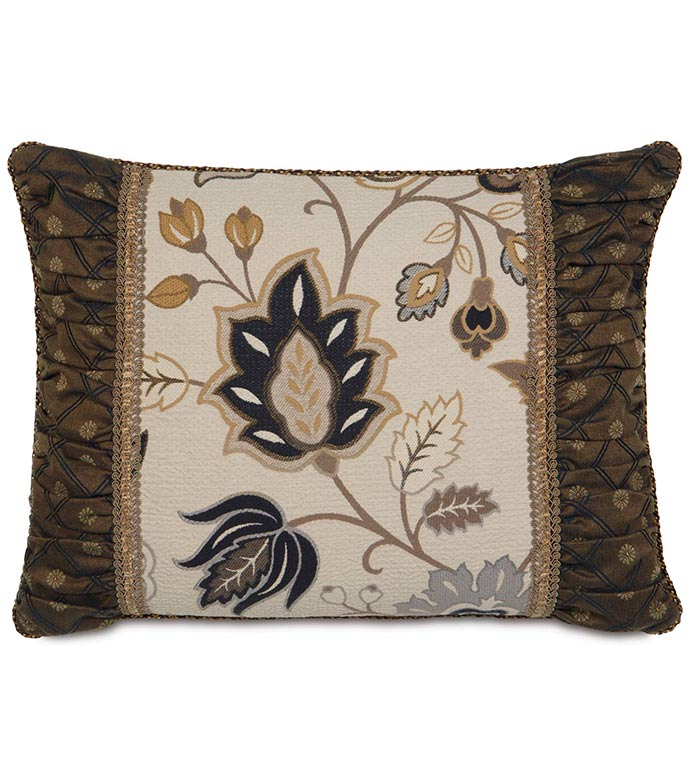 ASTON INSERT STANDARD SHAM - floral paisley pillow,classic style pillow,ruched pillow,ruched sides,gathered pillow,traditional,country,rustic country,contrast fabric,country pillow sham,decorative sham