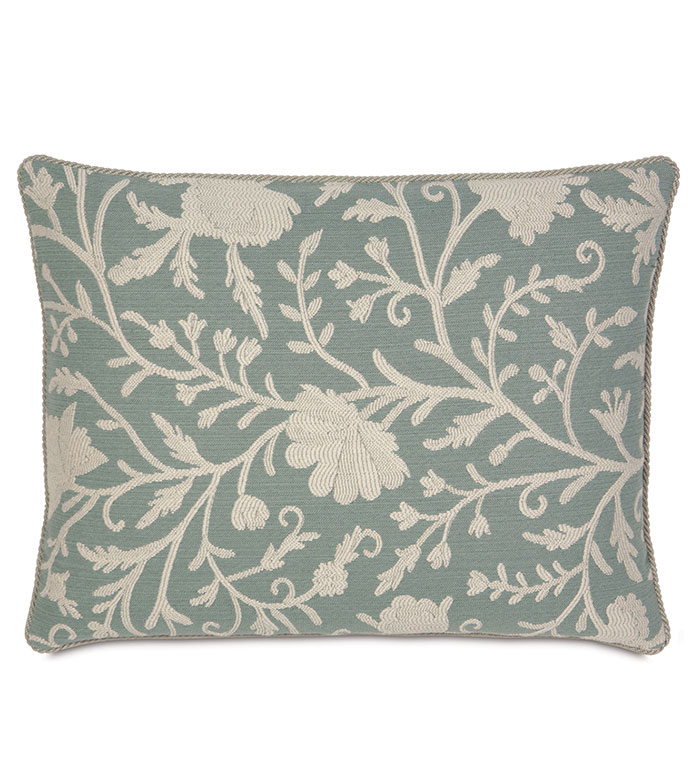 AVILA STANDARD SHAM - FLORAL PRINT SHAM,BLUE FLORAL PRINT,WOVEN FLORAL,COASTAL PILLOW,LAKE HOUSE PILLOW,BEACH BEDROOM,TURQUOISE FLORAL,NATURAL,CONTEMPORARY,TRANSITIONAL,CREAM,IVORY,BLUE,STANDARD SHAM