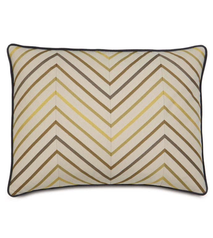 AUSTIN CITRON STANDARD SHAM - TAN CHEVRON SHAM,COLORFUL CHEVRON PILLOW,NEUTRAL CHEVRON PILLOW,TAN AND GREEN,TAN AND YELLOW,EARTH TONE,PIN STRIPE,CASUAL,CONTEMPORARY,TRANSITIONAL,URBAN STYLE PILLOW,ECLECTIC